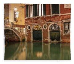 Venice Canal In Evening  Fleece Blanket