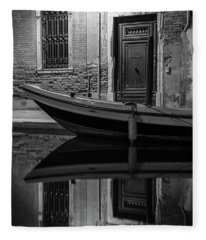 Venice Canal Reflection At Night  Fleece Blanket