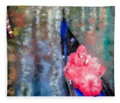 Venice Carnival. Masked Woman In A Gondola Fleece Blanket