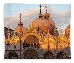 Venice Church Of St. Marks At Sunset Fleece Blanket