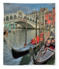 Venice Gondalos At Rialto Bridge Fleece Blanket