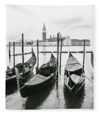 Venice Gondolas On Film  Fleece Blanket
