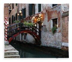Venice Italy - The Cheerful Christmassy Restaurant Entrance Bridge Fleece Blanket