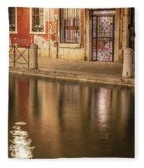 Venice Red Canal  Fleece Blanket