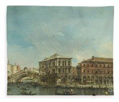 Venice The Rialto Bridge With The Palazzo Dei Camerlenghi  Fleece Blanket