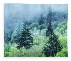 Verdant Forest In The Great Smoky Mountains Fleece Blanket