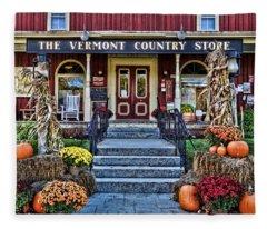 Fleece Blanket featuring the photograph Vermont Country Store by Nancy De Flon