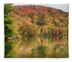 Vermont Fall Foliage Reflected On Pogue Pond Fleece Blanket