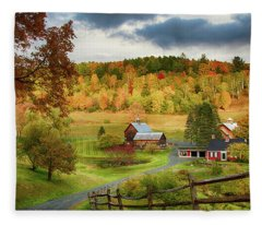 Vermont Sleepy Hollow In Fall Foliage Fleece Blanket