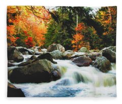 Vermonts Fall Color Rapids Fleece Blanket
