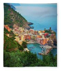 Vernazza From Above Fleece Blanket