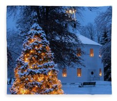 Vertical Vermont Round Church Fleece Blanket