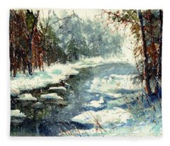 Very Cold Winter Watercolor Fleece Blanket