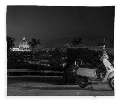 Vespa In Florence Italy  Fleece Blanket