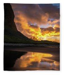 Vestrahorn Fiery Sunrise Reflection Fleece Blanket