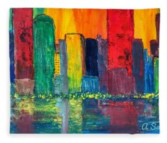 Vibrant Cityscape Fleece Blanket