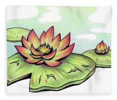 Vibrant Flower 2 Water Lily Fleece Blanket