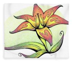 Vibrant Flower 4 Tiger Lily Fleece Blanket