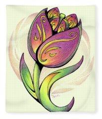 Vibrant Flower 5 Tulip Fleece Blanket