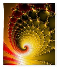 Fleece Blanket featuring the digital art Vibrant Glossy Fractal Spiral Yellow And Red by Matthias Hauser