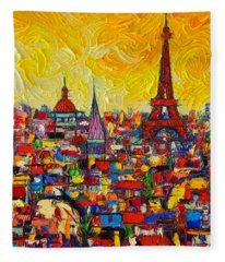 Vibrant Paris Abstract Cityscape Impasto Modern Impressionist Palette Knife Oil Ana Maria Edulescu Fleece Blanket