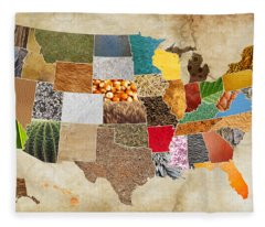 Vibrant Textures Of The United States On Worn Parchment Fleece Blanket