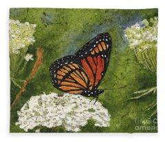 Viceroy Butterfly On Queen Anne's Lace Watercolor Batik Fleece Blanket