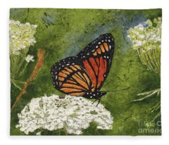 Viceroy Butterfly On Queen Anne's Lace Watercolor Batik Fleece Blanket