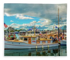 Victoria Harbor Old Boats Fleece Blanket