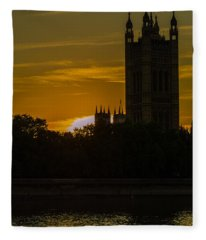 Victoria Tower In London Golden Hour Fleece Blanket