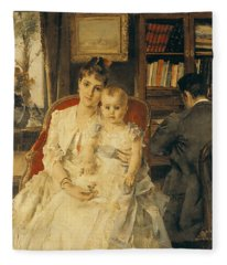 Victorian Family Scene Fleece Blanket