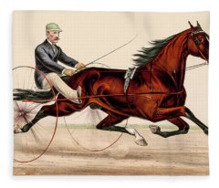 Victorian Horse Carriage Race Fleece Blanket
