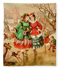 Victorian Ice Skaters Fleece Blanket