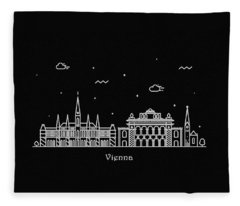 Vienna Skyline Travel Poster Fleece Blanket