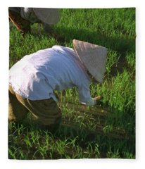 Vietnam Paddy Fields Fleece Blanket