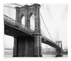 View Brooklyn Bridge With Foggy City In The Background Fleece Blanket