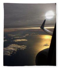 View From Plane  Fleece Blanket