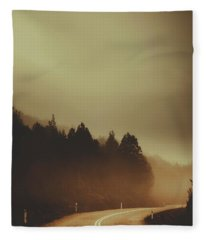 View Of Abandoned Country Road In Foggy Forest Fleece Blanket