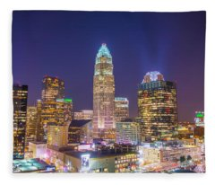 View Of Charlotte Skyline Aerial At Sunset Fleece Blanket