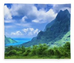 View Of Cook's Bay Mo'orea Fleece Blanket