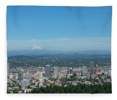 View Of Downtown Portland Oregon From Pittock Mansion Fleece Blanket