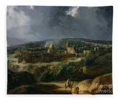 View Of Jerusalem From The Valley Of Jehoshaphat Fleece Blanket