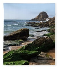 View Of Santa Rita Beach In Torres Vedras Fleece Blanket