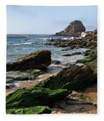 View Of Santa Rita Beach In Torres Vedras Fleece Blanket