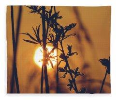 View Of Sun Setting Behind Long Grass D Fleece Blanket