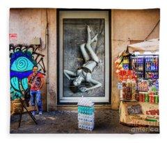 View Of The Food Cart Snack Man  Fleece Blanket