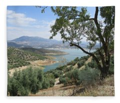 View Of The Lake Near Iznajar Fleece Blanket