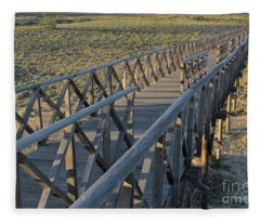 View Of The Wooden Bridge In Quinta Do Lago Fleece Blanket