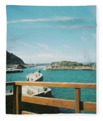 View Over The Ocean Port Fleece Blanket