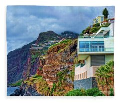 Viewpoint Over Camara De Lobos Madeira Portugal Fleece Blanket